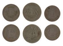 Monete indiane isolate su bianco Fotografia Stock