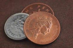 Monete inglesi Fotografie Stock