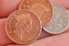 Monete inglesi Immagini Stock