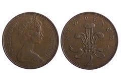 Monete inglesi a macroistruzione Fotografia Stock Libera da Diritti