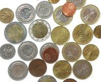 Monete isolate su bianco Fotografia Stock Libera da Diritti