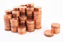 Monete isolate su priorità bassa bianca Immagini Stock