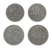 Monete lituane isolate su bianco Immagine Stock