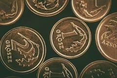 Monete polacche di Grosze Fotografie Stock Libere da Diritti