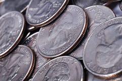 Monete quarte degli Stati Uniti Fotografia Stock Libera da Diritti