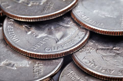 Monete quarte del centesimo Fotografia Stock Libera da Diritti