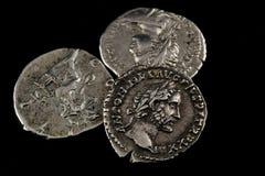Monete romane isolate Fotografie Stock Libere da Diritti
