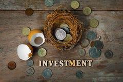 Monete sparse con gli alfabeti di legno e Eggshel per contare e Immagine Stock Libera da Diritti