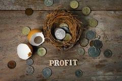 Monete sparse con gli alfabeti di legno e guscio d'uovo per contare e Fotografia Stock