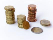 Monete su bianco Fotografia Stock