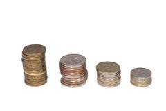 Monete su priorità bassa bianca Immagine Stock