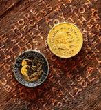 Monete su un fondo di legno Immagine Stock