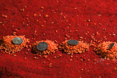 Monete sui granuli colorati del riso immagini stock