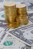 Monete sul dollaro Immagine Stock Libera da Diritti