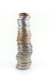 Monete tailandesi della pila isolate su bianco Fotografia Stock Libera da Diritti