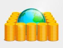Monete terrestri di oro e del globo Immagine Stock Libera da Diritti