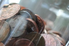 monete in un vaso Fotografia Stock