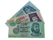 Banconote e monete ungheresi Fotografia Stock Libera da Diritti