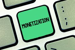 Monetização da escrita do texto da escrita Processo do significado do conceito de conversão que estabelece algo na moeda legal foto de stock