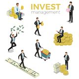 Monetization business investment money flat 3d iso. Invest flat 3d isometry isometric business investment concept web  illustration. Businessmen stores money Royalty Free Stock Images