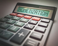 Monetization Calculator. Solar calculator with the word MONETIZATION on the display. 3D illustration, concept image of Business and Finance Stock Photos