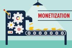 Money machine monetization concept. Monetization concept with money machine conveyor line producing money Royalty Free Stock Photos