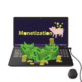 Monetization concept. much money. Work online. easy work on the Internet. referral program. laptop black on the desk with a bundle of money and piggy on the Stock Photo