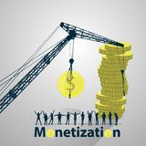 Monetization concept. much money. work online. Easy work on the Internet. referral program. lifting crane and coins Stock Photography