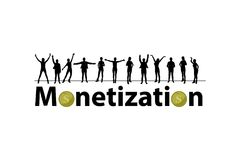 Monetization concept. referral program. Online projects. people`s silhouettes and coins Stock Photos