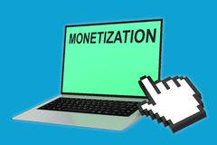 Monetization - financial concept. 3D illustration of MONETIZATION script with pointing hand icon pointing at the laptop screen Royalty Free Stock Photo