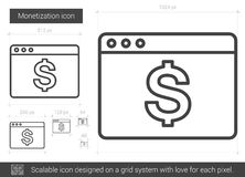 Monetization line icon. Monetization vector line icon isolated on white background. Monetization line icon for infographic, website or app. Scalable icon Stock Images