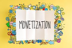 Monetization text with colorful illustrations. On a yellow background stock illustration