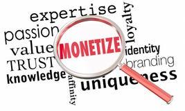 Monetize la lupa que vende el modelo comercial Success Imagen de archivo libre de regalías