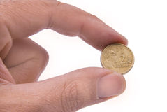 monety australijski palce odbyły się dwa Zdjęcia Royalty Free