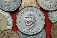 monety do tajwanu Tajwański prezydent Chiang Kai-shek Obraz Royalty Free