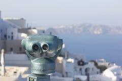 Monety działać lornetki Oia Santorini zdjęcie royalty free