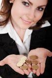 monety dziewczyny zdjęcie stock