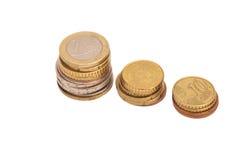 monety euro odizolowywającego white Zdjęcia Stock