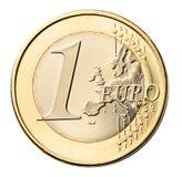 monety euro white izolacji Zdjęcie Stock