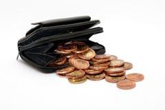 monety folowali portfel Zdjęcie Royalty Free