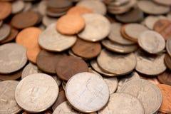monety głębokości pola płytki Obraz Royalty Free