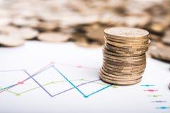 Monety i wykresu tło Zdjęcia Stock
