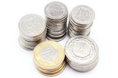 Monety na białym tle Obrazy Royalty Free