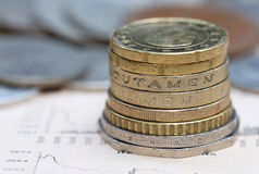 Monety na biznesowej stronie Zdjęcie Royalty Free