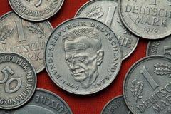 Monety Niemcy Niemiecki polityk Kurt Schumacher zdjęcia royalty free