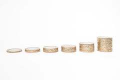 monety odizolowane white Zdjęcia Royalty Free