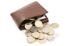 monety portfel target1149_0_ portfel Fotografia Stock