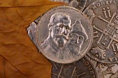 Monety tła rocznicy moneta Rosja 1913 Trzysta roku Romanov dynastia Obrazy Stock