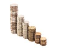 Monety układać jako wykres Zdjęcie Royalty Free