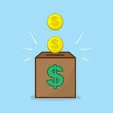 Monety w banka ilustracji